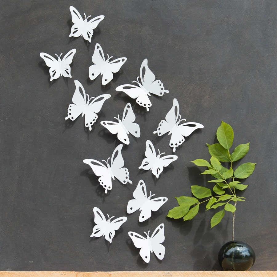 ?zoom & White Butterfly Wall Decor 3D Set of 12 PopArt Made in