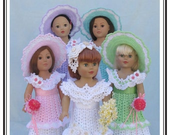 "Crochet doll dress pattern ""A Bridal Party"" PDF Download Annie Potter Presents"