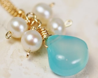 Chalcedony Dream, Gold, Gemdrop Collection, Choose Your Color Gemstone WITH PEARLS on 14K Gold Fill