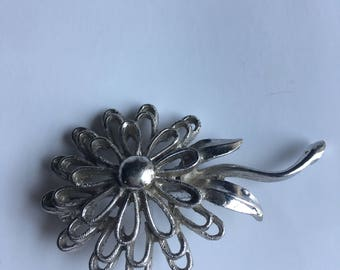 Vintage Brooch Pin Silver Flower Signed PELL