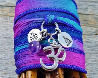 Silk Wrap Bracelet - Yoga Jewelry - Boho Wrap Bracelet - Wrap Bracelet - Gypsy Bracelet - Find Your Balance - Meditation Jewelry