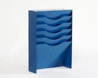 Vintage Vertical File Holder/ Magazine Rack Refinished in Moon Blue