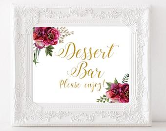 Dessert Bar Sign Gold Wedding sign Dessert table sign Floral Wedding table decor Bridal Shower printable decoration Wedding Gold Calligraphy
