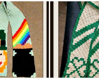 St. Patrick's Day Scarf, Set of 2, C2C Graph, Crochet Pattern
