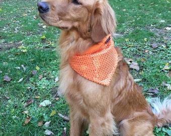 Blaze Hunter Orange Glitter Sparkle Fleece Dog Bandana Neckware Pet Accessories