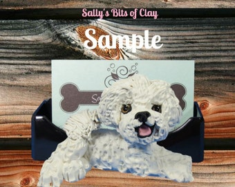 Bichon Frise Dog Business Card / Cell Phone Holder OOAK sculpture by Sally's Bits of Clay