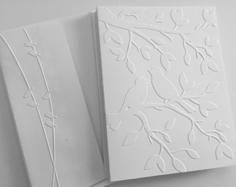 Embossed Greeting Cards, Embossed Cards,  Embossed Cards Set, Greeting Cards Boxed Set, Note Card Set, White Cards, Bird Cards Set