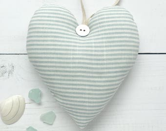 Duck Egg Blue Tiny Stripe Heart