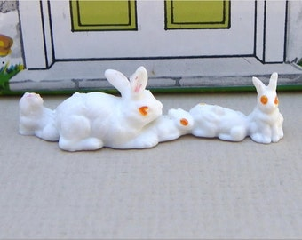 MINIATURE RABBITS, BUNNIES, 1970's, Double Facing, Plastic, Made in Hong Kong, Vintage Dollhouse Animals, Pets