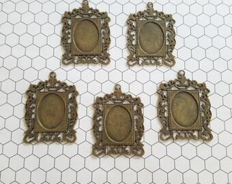 Set of 5 (five) 35x47mm Bronze Rectangle Ornate Pendant Tray Cameo Setting Bezel Resin