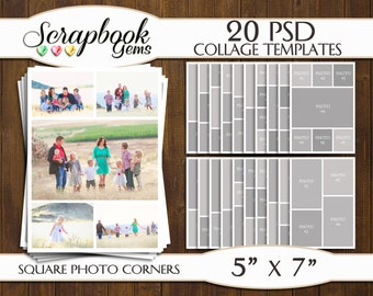 "TWENTY (20) 5"" x 7"" Digital Photo Collages / Storyboard Templates, PSD Format, Photo Scrapbook Template Collage"