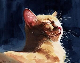 Orange Marmalade Tabby Cat Art Print of my watercolor painting Big Large