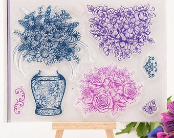 7 beautiful large stamps silicone model floral vintage