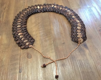 Unique Wooden Disc Tie-On Belt
