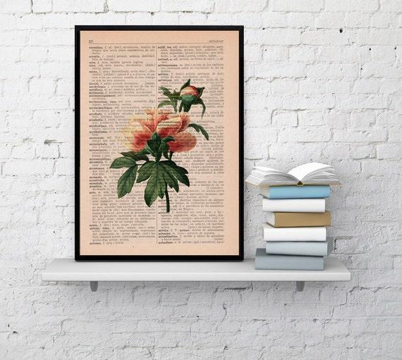 Wall art Vintage Botanical  Illustration Peony Print on Vintage Book page- Home wall decor BFL131
