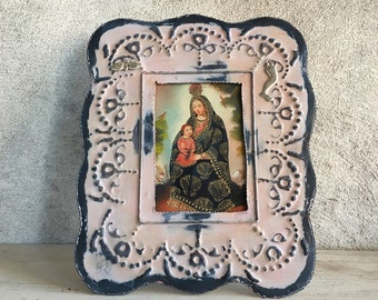 Small vintage Cuzco painting Madonna and Child in tin frame Spanish Colonial art
