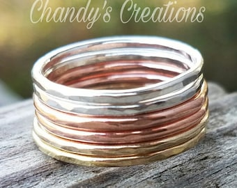 Gold, Sterling Silver, Copper, Rose Gold, Stackable, Rings, Midi, Layered, Name, Hammered, Beaded, Stack, Band, Spacer, Dotted, Mixed Metal