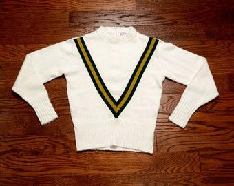 vintage 60s cheerleader sweater V stripe chevron jumper 1960 athletic varsity sweater Award Sweater East-Tenn cream white green yellow M