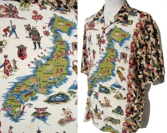 Vintage Reyn Spooner Aloha Shirt Map of Japan Islands Rayon Novelty Print XL