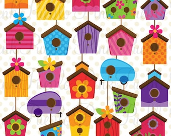 Birdhouse Clip Art Clipart, Cute Whimsical Bird House Clipart Clip Art Vectors - Commercial and Personal