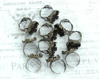 Antiqued Brass Adjustable Ring 18mm Bezel Tray Ring Antiqued Brass Filigree Ring Antiqued Brass Ring Blank