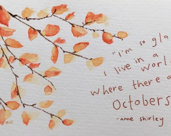 October Watercolor Print