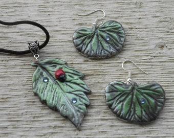 Leaf Pendant and Earrings