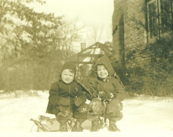 Winter 1940 Boys Sitting on Sled Playing in Snow 40s Vintage Photograph Black White Photo