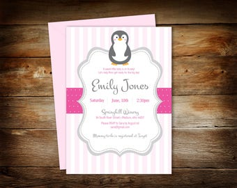 Penguin Baby Shower - Penguin Shower Invitation - Baby Shower Invitation - Baby Penguin - Digital Download - Print at Home