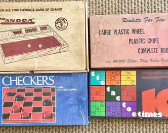 4 Vintage Games TIC TAC Toe Checkers ROULETTE Canoga