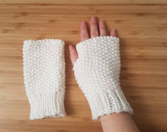 White Chunky Mitts