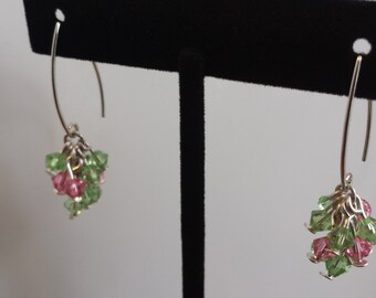 AKA Pink & Green 4mm Swarovski Crystal Cluster Earrings