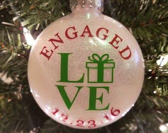 Christmas Gift Theme Engagement Ornament