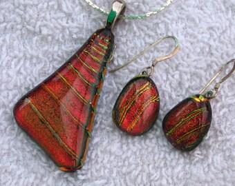 Dichroic glass pendant set, triangle and round, orange &yellow.
