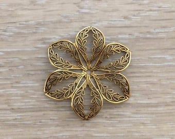 Gold Filigree Flower, Gold Stampings, Flower Stampings, 43 mm