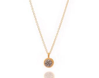 Druzy POP Necklace - Silver Druzy in Yellow Gold - Druzy / Drusy Necklace - 24k Gold Vermeil - Small Round Druzy Drop Charm Pendant