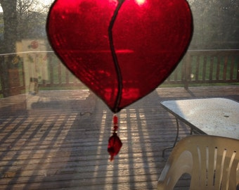 Vivid Red Stained Glass Heart with Beads