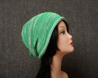 Knit womens hat knitted slouch beanie knit gradient hat Slouchy knit Beanie Hat Womens hat white green