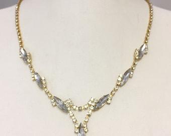 Gold Silvery Rhinestone Bridal Necklace Set, Vintage Necklace, V  Crystal Necklace, Prom Jewelry 3070