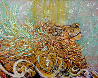 Mystic Heart/Sun Shower - from Original Painting mixedmedia Original or Custom made Art Prints in Various Size