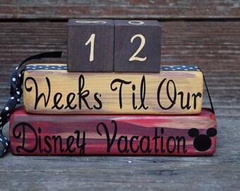 Vintage Disney Vacation Countdown Blocks Weeks Until/Days Until  - Yellow. Red. Black