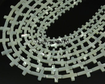 Natural White Mother Of Pearl MOP Shell Cross Spacer Beads 16''  for Jewelry Making Crafts