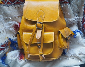 Moroccan Leather & yellow  Backpack Shoulder Bag /handmade leather