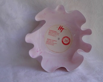 White/Pink Marbled Colored Vinyl Record Bowl
