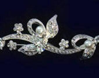 Lady Mary Tiara Gold or Silver Rhinestone Pearl Bridal Wedding Quinceanera New Vintage Gatsby