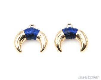 Gold Plated Bulls Horn with Navy Strap - 1 pieces of Horn Pendant / 17.0mm x 15.0mm / BNVG304-P (Small Version)