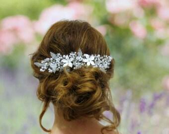 Flower crown, wedding crown, Wedding Hair piece, babys breath comb, bridal hair piece, wedding comb, wedding head piece, babies breath