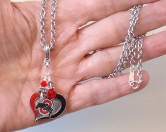 Ohio State Necklace, OSU Jewelry, Scarlet and Gray Crystal College Necklace, College Football Buckeyes Bling Accessory Fanwear