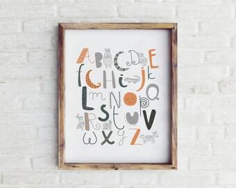 Printable Woodland Nursery Decor, Woodland Nursery Wall Art, Woodland Nursery Art, Nursery Wall Art, Boy Nursery Decor, Alphabet Poster