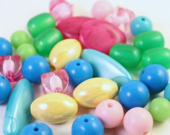 Assorted Pink, Turquoise, Green and Yellow Acrylic Beads, Mixed Shapes, Wholesale Lots